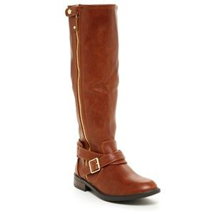 DV by Dolce Vita Clarity Cognac Zip Riding Boots